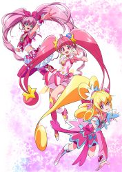 3girls, :d, abstract background, absurdres, ahoge, aida mana, arm warmers, bangs, bike shorts, blue eyes, blunt bangs, boots, bow, brooch, choker, color connection, crop top, cure heart, cure melody, cure star, curly hair, dokidoki! precure, dress, dress bow, frilled skirt, frills, hair bow, hair ornament, heart, heart hair ornament, highres, hoshina hikaru, houjou hibiki, jewelry, knee boots, layered skirt, long hair, looking at viewer, magical girl, multiple girls, nukosann, open mouth, pink background, pink bow, pink dress, pink eyes, pink footwear, pink hair, pink legwear, pink neckwear, pink shorts, pink skirt, pink sleeves, pink theme, planet hair ornament, ponytail, pouch, precure, shoes, shorts, shorts under skirt, single thighhigh, skirt, smile, star (symbol), star choker, star twinkle precure, suite precure, thighhighs, twintails, wrist cuffs