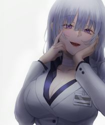 1girl, bandaged neck, black shirt, breasts, business suit, cleavage, collarbone, dano, eyebrows visible through hair, formal, girls frontline, hand in hair, hand on head, highres, large breasts, lips, looking at viewer, medium hair, open mouth, purple eyes, rpk-16 (girls frontline), shirt, silver hair, smile, solo focus, suit, white background, white blazer (module), white suit