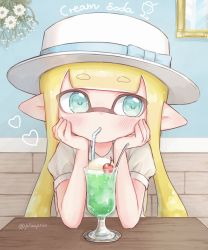 1girl, aqua eyes, bangs, bendy straw, blonde hair, blue bow, blunt bangs, boater hat, bow, cherry, commentary, cup, domino mask, dress, drinking, drinking straw, elbow rest, english commentary, english text, food, fruit, hat, hat bow, heart, highres, ice cream, ice cream float, inkling, long hair, looking at viewer, mask, melon soda, nintendo, pioxpioo, pointy ears, puffy short sleeves, puffy sleeves, short sleeves, solo, splatoon (series), tentacle hair, twitter username, white dress, white headwear