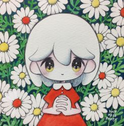1girl, dated, dress, flower, hands together, highres, leaf, looking at viewer, medium hair, no nose, original, plant, red dress, signature, smile, solo, traditional media, upper body, white flower, white hair, yellow eyes, zukky000