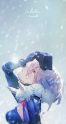 1girl, adjusting clothes, adjusting headwear, animal, animal on shoulder, arm up, bangs, blue eyes, bodysuit, breasts, commentary request, fate/grand order, fate (series), gloves, looking up, mash kyrielight, mebaru, parted lips, pink hair, simple background, snowing, solo, upper body