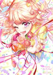 1girl, ;d, absurdres, aikatsu!, aikatsu! (series), bangs, blonde hair, blue skirt, blush, bouquet, daisy, dated, eyebrows visible through hair, flower, foreshortening, green shirt, gyaru, happy birthday, highres, holding, holding bouquet, jewelry, loafers, long hair, looking at viewer, natsuki mikuru, necklace, one eye closed, open mouth, petals, pink eyes, pink flower, pink rose, plaid, plaid skirt, pleated skirt, rose, shirt, shoes, short sleeves, skirt, smile, solo, thighhighs, two side up, w, wattaro, white legwear, yellow flower, yellow rose, yellow shirt