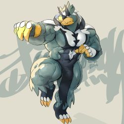 1boy, abs, absurdres, bara, bear boy, bulge, creatures (company), fighting stance, full body, furry, game freak, gen 8 pokemon, highres, large pectorals, legendary pokemon, looking at viewer, male focus, mixvariety, muscular, muscular male, navel, nintendo, pelvic curtain, personification, pokemon, pokemon (creature), solo, standing, standing on one leg, stomach, thick thighs, thighs, urshifu, urshifu (rapid), veins