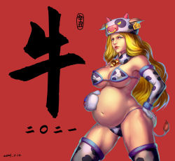 Rule 34 | 1girl, animal ears, animal print, annoyed, blonde hair, blue eyes, bra, breasts, cleavage, cow ears, cow horns, cow print, cow tail, cowbell, elbow gloves, fur hat, fur trim, gloves, hat, highres, horns, kolin, large breasts, lips, long hair, looking at viewer, mittens, nipples, panties, pregnant, red background, simple background, solo, standing, street fighter, street fighter v, tail, thick thighs, thighhighs, thighs, underwear, wavy hair, xxx1320