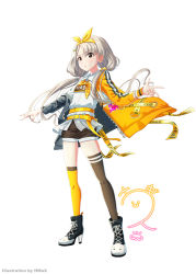 1girl, :o, absurdres, artist name, belt, blonde hair, blush, boots, bow, bowtie, brown eyes, character signature, collared shirt, english text, eyebrows visible through hair, hairband, high heel boots, high heels, highres, hisakawa nagi, hmax, idolmaster, idolmaster cinderella girls, jacket, kneehighs, long hair, mismatched legwear, off-shoulder jacket, shirt, shorts, simple background, single kneehigh, single thighhigh, solo, standing, tachi-e, thighhighs, twintails, untied, untucked shirt, v, w, white background