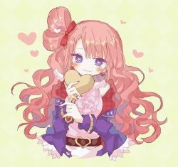 1girl, bangs, bare shoulders, belt, blush, bow, character request, checkered, checkered background, closed mouth, earrings, eyebrows visible through hair, frilled shirt, frills, hair bow, heart, heart-shaped pupils, heart belt, heart earrings, hibi89, holding, holding heart, jacket, jewelry, long hair, long sleeves, looking at viewer, merc storia, nail polish, off-shoulder jacket, pink shirt, plaid trim, purple eyes, purple jacket, red bow, red nails, shirt, smile, solo, symbol-shaped pupils, upper body, very long hair, wavy hair