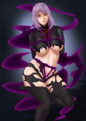 Rule 34 | absurdres, bdsm, bondage, bondage outfit, bound, breasts, collstro, dark, demon girl, dress, highres, large breasts, leather, leather pants, looking at viewer, melascula, nanatsu no taizai, navel, pants, plump, purple hair, sauce, thick thighs, thighhighs, thighs, tied up, tight dress