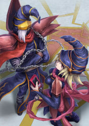 1boy, 1girl, armor, back bow, bandaged hand, blonde hair, bow, breasts, cellphone, chains, commentary, covered mouth, crossed arms, deadspike nine, detached sleeves, duel monster, gagaga girl, gagaga magician, green eyes, grey hair, hat, highres, holding, holding phone, long hair, long sleeves, mask, mouth mask, open mouth, pauldrons, phone, pink bow, pink scarf, red eyes, red scarf, scarf, shoulder armor, standing, wizard hat, yu-gi-oh!