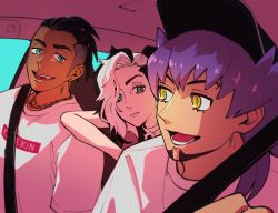 3boys, alternate costume, bangs, black hair, car interior, closed mouth, commentary request, creatures (company), dark skin, dark skinned male, earrings, eyelashes, eyeshadow, facial hair, game freak, green eyes, half-closed eyes, highres, jewelry, leon (pokemon), looking at another, makeup, male focus, multicolored hair, multiple boys, necklace, nintendo, open mouth, osg pk, piers (pokemon), pokemon, pokemon (game), pokemon swsh, purple hair, raihan (pokemon), seatbelt, shirt, smile, teeth, tongue, two-tone hair, undercut, white hair, white shirt