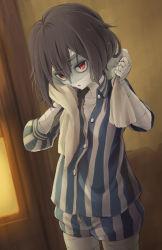 1girl, arigato (rmskrtkdlqj), black hair, cowboy shot, highres, mizuno ai, pajamas, red eyes, shirt, short hair, shorts, solo, striped, striped shirt, towel, towel around neck, vertical-striped shirt, vertical-striped shorts, vertical stripes, wet, wet hair, wiping face, zombie, zombie land saga
