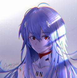 1girl, ahoge, alenx kevin, alternate hair length, alternate hairstyle, ayanami rei, bangs, blue hair, commentary request, evangelion: 3.0+1.0 thrice upon a time, eyebrows visible through hair, highres, looking at viewer, messy hair, neon genesis evangelion, plugsuit, rebuild of evangelion, red eyes, shiny, shiny hair, sidelocks, signature, solo, spoilers, upper body