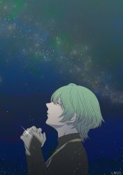 1boy, absurdres, bridal gauntlets, byleth (fire emblem), byleth (fire emblem) (male), eyes closed, fire emblem, fire emblem: three houses, green hair, hands together, high collar, highres, jewelry, long sleeves, male focus, night, nintendo, outdoors, praying, ring, short hair, silhiko, sky, solo, star (sky), starry sky