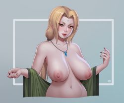 Rule 34   1girl, absurdres, areolae, blonde hair, breasts, facial mark, fingernails, forehead mark, highres, huge breasts, huge nipples, jewelry, looking at viewer, mature, nail polish, naruto (series), navel, necklace, orange eyes, ponytail, red nails, riz, sagging breasts, simple background, smile, solo, tsunade