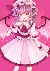 1girl, alternate hair length, alternate hairstyle, arm at side, arm up, bangs, bat wings, brooch, commentary, cravat, eyebrows visible through hair, feet out of frame, frilled skirt, frills, hand on own chest, hat, hat ribbon, jaku sono, jewelry, looking at viewer, medium hair, mob cap, open mouth, pink background, pink headwear, pink shirt, pink skirt, puffy short sleeves, puffy sleeves, purple hair, red eyes, red neckwear, remilia scarlet, ribbon, sash, shirt, short sleeves, skirt, slit pupils, solo, sparkle background, standing, touhou, transparent wings, wings, wrist cuffs