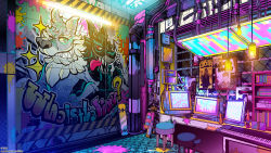 ceiling light, commentary request, english text, fluorescent lamp, flying sweatdrops, graffiti, highres, instrument, keyboard (computer), keyboard (instrument), lava lamp, monitor, mouse (computer), no humans, original, paint splatter, poster (object), skateboard, sparkle, stool, tongue, tongue out, wolf, yuu (arcadia)