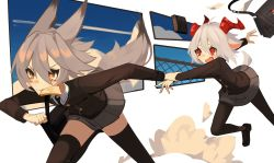 absurdres, animal ears, bag, bangs, black jacket, black neckwear, blazer, borrowed character, clenched hand, clock, collared shirt, digital clock, fence, fenrir (ghost (tama)), food, food in mouth, ghost (tama), goat ears, goat girl, goat horns, grey hair, hair between eyes, hanah (populamalus), highres, holding another's arm, horns, jacket, mouth hold, necktie, open mouth, orange eyes, original, pantyhose, red eyes, running, school bag, school uniform, shirt, tail, thighhighs, toast, toast in mouth, white hair, white shirt, wolf ears, wolf girl, wolf tail