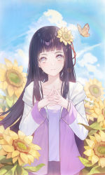 1girl, absurdres, bangs, black hair, blue sky, blunt bangs, bug, butterfly, closed mouth, cloud, collarbone, day, field, flower, flower field, grey eyes, hair flower, hair ornament, highres, hood, hooded jacket, hyuuga hinata, insect, jacket, long hair, long sleeves, looking at viewer, naruto (series), naruto shippuuden, nhan, open clothes, open jacket, outdoors, shiny, shiny hair, shirt, sky, smile, solo, sunflower, very long hair, white shirt, yellow flower