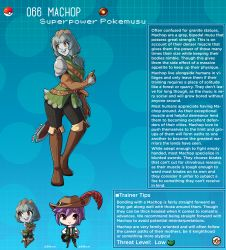 1boy, 1girl, armor, artist name, bangs, belt, blue hair, blunt bangs, boots, brown eyes, character name, character profile, colored skin, commentary, creatures (company), english commentary, eyebrows visible through hair, gambeson, game freak, gen 1 pokemon, gloves, grey skin, hat, hat feather, heart, heart-shaped pupils, highres, kinkymation, leather, leather belt, leather boots, leather gloves, long hair, machop, nintendo, open mouth, orange eyes, pauldrons, personification, poke ball, pokemon, ponytail, purple hair, sheath, sheathed, shoulder armor, sword, symbol-shaped pupils, tail, thigh boots, thighhighs, weapon