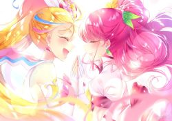 2girls, blonde hair, blush, commentary request, cure grace, cure summer, dress, earrings, eyelashes, eyes closed, fingerless gloves, gloves, hair ornament, hanadera nodoka, hand holding, happy, healin' good precure, highres, jewelry, layered dress, long hair, long sleeves, looking at another, magical girl, multicolored hair, multiple girls, natsuumi manatsu, pink hair, ponytail, precure, puffy sleeves, simple background, smile, streaked hair, touki matsuri, tropical-rouge! precure, very long hair, white background, wings