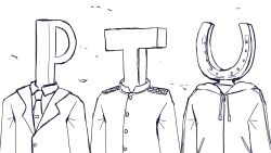 3boys, absurdres, crossover, formal, greyscale, highres, hood, hood down, hooded jacket, hoodie, horseshoe, idolmaster, jacket, kantai collection, kozzy.ta, male focus, military, military uniform, monochrome, multiple boys, multiple crossover, necktie, p-head producer, simple background, suit, t-head admiral, u-head trainer, umamusume, uniform, upper body