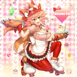 1girl, absurdres, animal ear fluff, animal ears, apron, bangs, bell, bow, breasts, character name, chiri 214, cleavage, collar, cup, dress, drinking glass, fate/extra, fate/grand order, fate (series), food, fox ears, fox girl, fox tail, gloves, hair between eyes, hair bow, highres, jingle bell, kneeling, large breasts, licking lips, long hair, looking at viewer, lostroom outfit (fate), neck bell, open mouth, paw gloves, paws, pink hair, ponytail, pudding, red bow, red legwear, roller skates, sidelocks, skates, smile, striped, striped dress, tail, tamamo (fate) (all), tamamo cat (fate), thighhighs, tongue, tongue out, tray, visor cap, white apron, yellow eyes