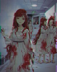 4girls, barefoot, blood, blood on face, blood stain, blood trail, bloody clothes, bloody handprints, bloody hands, bloody knife, bloody weapon, chromatic aberration, closed mouth, crack, door, dress, exit sign, footprints, glass, glitch, gun, handgun, highres, holding, holding gun, holding knife, holding weapon, horror (theme), indoors, knife, long hair, looking at viewer, multiple girls, nanaju ko, number, open door, open mouth, orange hair, original, parted lips, red eyes, smile, talking, weapon, whispering, white dress, white neckwear