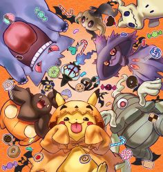 4o080 yotabnc, candy, candy cane, chandelure, cloak, commentary request, cookie, creatures (company), cupcake, doughnut, dusclops, fangs, food, game freak, gen 1 pokemon, gen 3 pokemon, gen 4 pokemon, gen 5 pokemon, gen 6 pokemon, gen 7 pokemon, gengar, halloween, highres, hood, hood up, hooded cloak, jelly bean, lollipop, mimikyu, mismagius, nintendo, open mouth, orange background, orange cloak, phantump, pikachu, pokemon, pokemon (creature), pumpkaboo, red eyes, sleeves past wrists, teeth, tongue, tongue out, zubat