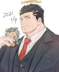 1boy, arsalan (tokyo houkago summoners), bara, black hair, black suit, chibi, dated, facial hair, formal, halo, highres, ina zuma, lion boy, male focus, muscular, muscular male, official alternate costume, on shoulder, pectorals, short hair, striped suit, stubble, tokyo houkago summoners, zabaniya (tokyo houkago summoners)