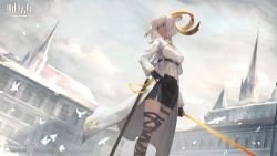 1girl, animal, animal ears, arknights, bird, black skirt, building, carnelian (arknights), coat, dark-skinned female, dark skin, dutch angle, feet out of frame, glowing, glowing sword, glowing weapon, goat ears, goat girl, goat horns, highres, holding, holding sword, holding weapon, horns, infection monitor (arknights), looking back, official art, open clothes, open coat, outdoors, red eyes, scabbard, sheath, shirataki jiro, shirt, skirt, solo, sword, thigh strap, watermark, weapon, white coat, white hair, white shirt