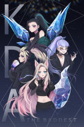 4girls, ahri, akali, animal ears, black choker, black hair, blonde hair, blue eyes, blue eyeshadow, breasts, bubble tea, choker, cleavage, commentary, copyright name, crystal tail, cup, disposable cup, drinking, drinking straw, drinking straw in mouth, earrings, english commentary, evelynn (league of legends), eyeshadow, finger heart, fox ears, fox tail, gradient hair, green hair, grin, halter top, halterneck, heart, high ponytail, highres, holding, holding cup, hoop earrings, jewelry, k/da (league of legends), kai'sa, league of legends, long hair, makeup, midriff, multicolored hair, multiple girls, navel, pink hair, plunging neckline, purple hair, silver eyes, small breasts, smile, streaked hair, sunglasses, tail, the baddest ahri, the baddest akali, the baddest evelynn, the baddest kai'sa, two-tone hair, upper body, very long hair, whisker markings, wings, yellow eyes, yoclesh