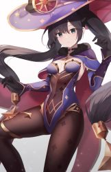 1girl, absurdres, bangs, black choker, black gloves, black hair, blue eyes, blush, bodystocking, breasts, brown legwear, cape, center opening, choker, cleavage, closed mouth, covered navel, crescent hat ornament, detached sleeves, eyebrows visible through hair, feet out of frame, fur collar, g home, genshin impact, gloves, hand up, hat, hat ornament, highres, huge filesize, leg up, leotard, long hair, long sleeves, looking at viewer, mona megistus, print legwear, purple headwear, purple leotard, red cape, simple background, small breasts, solo, sparkle, sparkle print, standing, standing on one leg, thighlet, very long hair, white background, witch hat