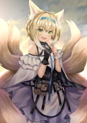 1girl, :d, absurdres, animal ears, arknights, bangs, bare shoulders, black gloves, blonde hair, blue hairband, blush, braid, clenched hands, cloud, commentary request, day, dress, eyebrows visible through hair, fox ears, fox girl, fox tail, gloves, gradient hair, green eyes, hair between eyes, hair rings, hairband, hands up, head tilt, highres, kitsune, looking at viewer, multicolored hair, multiple tails, open mouth, pouch, purple dress, seabread, shiny, shiny hair, short hair, signature, single glove, single wrist cuff, smile, solo, standing, sunlight, suzuran (arknights), tail, white hair