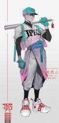 1boy, aqua gloves, aqua headwear, bandaid, baseball bat, baseball cap, belt, bright pupils, clenched hand, collarbone, covered collarbone, dotsuco, ear piercing, earrings, english text, gloves, grey footwear, hat, highres, holding, holding baseball bat, jewelry, looking at viewer, male focus, original, piercing, red eyes, shaded face, solo, standing, star (symbol), star tattoo, tattoo, turtleneck, white pupils