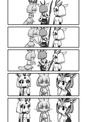3girls, animal ears, arabian oryx (kemono friends), bag, bangs, bare shoulders, camisole, cellval, chibi, elbow gloves, eyebrows visible through hair, gazelle ears, gazelle horns, gazelle tail, gloves, greyscale, hand on ass, highres, holding, holding weapon, kemono friends, kemono friends 3, kotobuki (tiny life), long sleeves, looking at another, medium hair, monochrome, motion lines, multicolored hair, multiple girls, pants, polearm, shaking head, shirt, short over long sleeves, short sleeves, shoulder bag, skirt, tail, tail through clothes, thomson's gazelle (kemono friends), translation request, weapon