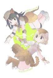 2girls, :d, :o, animal ears, armadillo ears, armadillo tail, bangs, black eyes, blonde hair, blue eyes, blunt bangs, blunt ends, boots, brown footwear, brown gloves, brown headwear, brown skirt, brown vest, character name, collared shirt, cross-laced footwear, dark blue hair, elbow pads, expressionless, extra ears, eye contact, eyebrows visible through hair, feet up, flat cap, floating, full body, giant armadillo (kemono friends), giant pangolin (kemono friends), gloves, green background, hair between eyes, hat, highres, inu (user arjr4358), kemono friends, knee boots, knee pads, lace-up boots, legs together, long hair, looking at another, looking to the side, multicolored, multicolored clothes, multicolored gloves, multiple girls, necktie, open hands, open mouth, orange neckwear, orange skirt, outstretched arms, pangolin ears, parted lips, pink vest, pleated skirt, shirt, shoelaces, shoes, short hair, short sleeves, shoulder pads, skirt, smile, spread arms, sweater vest, swept bangs, tail, tareme, teeth, two-tone background, two-tone gloves, upper teeth, vest, white background, white footwear, white gloves, white shirt, wing collar, wrist guards