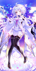 0v0 (l seohui), 1girl, absurdres, ahoge, black pants, blush, boots, breasts, bug, butterfly, closed mouth, fate/grand order, fate (series), fingerless gloves, full body, gloves, glowing butterfly, high heel boots, high heels, highres, holding, holding staff, huge filesize, insect, long hair, long sleeves, looking at viewer, medium breasts, merlin (fate), merlin (fate/prototype), one eye closed, outdoors, pants, petals, purple eyes, purple hair, smile, solo, staff, very long hair, white hair, wide sleeves