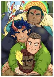 4boys, bara, beard, blush, broken horn, buzz cut, character request, creature, dark blue hair, dark skin, dark skinned male, demon boy, demon horns, dogpile, facial hair, fang, fiery horns, flaming eye, hephaestus (tokyo houkago summoners), highres, horns, hug, hug from behind, kumagamike, kurogane (tokyo houkago summoners), long sideburns, male focus, mature male, multiple boys, muscular, muscular male, red hair, scar on forehead, scar on neck, shirt, short hair, sideburns, smile, stubble, takemaru (tokyo houkago summoners), textless, thick eyebrows, tight shirt, tokyo houkago summoners, very dark skin, very short hair