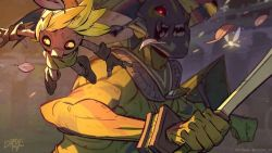 1boy, artist name, blonde hair, boss, brown footwear, brown gloves, commentary, dark skin, dark-skinned male, deku, english commentary, fairy, fangs, fingerless gloves, from side, giant, gloves, glowing, glowing eyes, green headwear, green skirt, hat, holding, holding sword, holding weapon, leo cherel, link, nintendo, open mouth, red eyes, shoes, signature, skirt, sword, the legend of zelda, the legend of zelda: majora's mask, weapon, yellow eyes