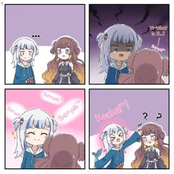 > <, ..., 2girls, :d, ?, ^ ^, anya melfissa, bangs, bare shoulders, black dress, black sleeves, blue eyes, blue hair, blue hoodie, blush, breast envy, brown hair, closed eyes, closed mouth, commentary, detached sleeves, drawstring, dress, english commentary, english text, eyebrows visible through hair, eyes closed, fish tail, gawr gura, gradient hair, hair ornament, highres, hololive, hololive english, hololive indonesia, hood, hood down, hoodie, long hair, multicolored hair, multiple girls, nose blush, o o, open mouth, outline, petting, purple eyes, romaji text, rutorifuki, shaded face, shark tail, sleeveless, sleeveless dress, smile, sparkle, streaked hair, tail, tears, two side up, v-shaped eyebrows, very long hair, virtual youtuber, white hair, white outline