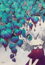 1girl, aqua eyes, blood, branch, crying, dated, dripping, grey hair, hair over one eye, highres, leaf, looking at viewer, medium hair, original, short sleeves, signature, solo, tears, upper body, zukky000