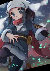 1girl, absurdres, black hair, blue eyes, blush, closed mouth, commentary request, creatures (company), eyelashes, female protagonist (pokemon legends: arceus), floating scarf, game freak, head scarf, highres, leaves in wind, long hair, looking at viewer, miyama-san, nintendo, pantyhose, pokemon, pokemon (game), pokemon legends: arceus, ponytail, pouch, red scarf, sash, scarf, sidelocks, smile, socks, solo, spread fingers, yellow bag
