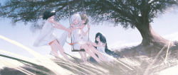 4girls, :d, bangs, black hair, blush, brown eyes, brown hair, closed mouth, commentary request, dress, eyebrows visible through hair, eyes closed, from side, full body, grass, grey hair, hair between eyes, hair over one eye, highres, holding, hug, hug from behind, long hair, looking at another, multiple girls, open mouth, original, outdoors, reoen, short hair, sitting, sleeveless, sleeveless dress, smile, standing, swing, tree, very long hair, white dress, wind