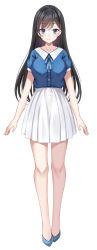1girl, aoi mizuki, black hair, blue eyes, blue footwear, full body, harimoji, highres, official art, shirt, skirt, standing, virtual youtuber, voice-ore, white background, white skirt