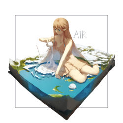 1girl, bangs, bare shoulders, beige dress, blue eyes, braid, breasts, brown hair, character request, cleavage, closed mouth, cloud, collarbone, commentary request, copyright request, cup, dress, framed, full body, hair ornament, holding, holding cup, light, long hair, looking down, mountain, ocean, pointy ears, shadow, short dress, sidelocks, simple background, sitting, sleeveless, sleeveless dress, smile, solo, spencer sais, very long hair, white background, yokozuwari