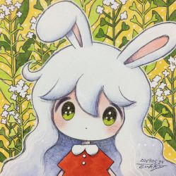1girl, animal ears, bangs, blush, bunny ears, bunny girl, dated, dress, flower, green eyes, hair between eyes, highres, no nose, original, red dress, short sleeves, signature, solo, upper body, white flower, yellow background, zukky000