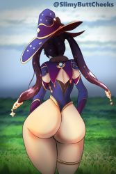 Rule 34   1girl, artist name, ass, backboob, breasts, cape, detached sleeves, elbow gloves, from behind, genshin impact, gloves, hair ornament, hair ribbon, hat, highres, huge ass, leotard, long hair, mona (genshin impact), purple hair, ribbon, shiny, shiny hair, shiny skin, slimybuttcheeks, solo, thighlet, thong leotard, twintails, very long hair