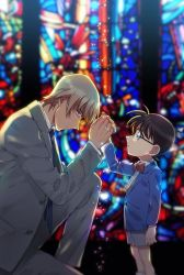 2boys, amuro tooru, bangs, black-framed eyewear, blazer, blonde hair, blue eyes, blue jacket, blue neckwear, blurry, bow, bowtie, brown hair, child, closed mouth, collared shirt, commentary request, depth of field, edogawa conan, formal, from side, glasses, grey jacket, grey pants, grey shorts, grey suit, hair between eyes, height difference, jacket, k (gear labo), long sleeves, looking at another, looking down, male focus, meitantei conan, multiple boys, necktie, one knee, pants, parted lips, profile, red bow, red neckwear, shirt, short hair, shorts, stained glass, standing, suit, white shirt