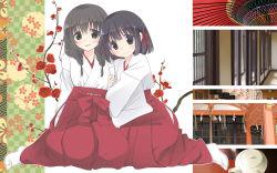 2girls, highres, japanese clothes, miko, multiple girls, original, smile, yuri