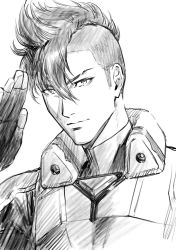 1boy, absurdres, fingerless gloves, gloves, greyscale, hair between eyes, highres, looking at viewer, macross, macross delta, male focus, messer ihlefeld, monochrome, mosako, pilot suit, salute, science fiction, sketch, smile, solo, undercut, upper body, white background