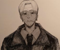 1boy, ate5424, bags under eyes, black coat, black eyes, chainsaw man, coat, collared shirt, ear piercing, earrings, eyebrows, facial hair, forehead, highres, jewelry, kishibe (chainsaw man), long sleeves, male focus, monochrome, mustache, necktie, pale skin, piercing, scar, scar on face, shirt, short hair, solo, solo focus, stubble, undercut, white background, white shirt